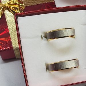 His & Hers Two-Tone Wedding Bands